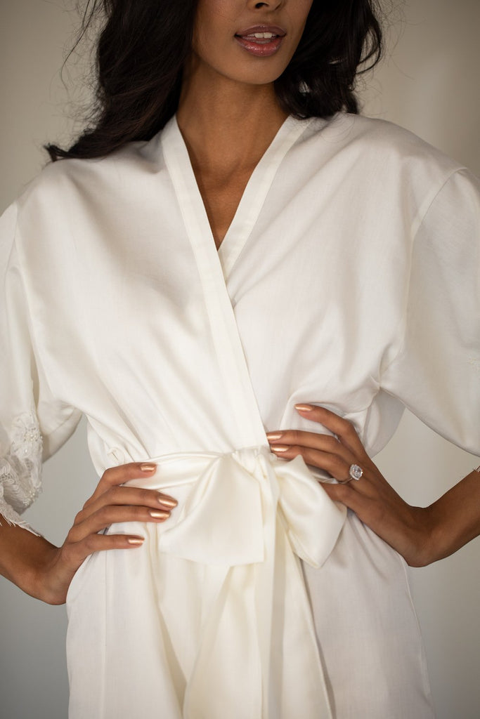 Emily White Cotton Robe