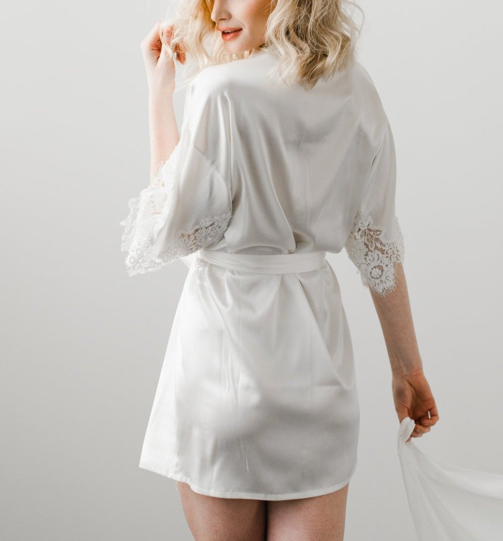 Emily White Silk Robe