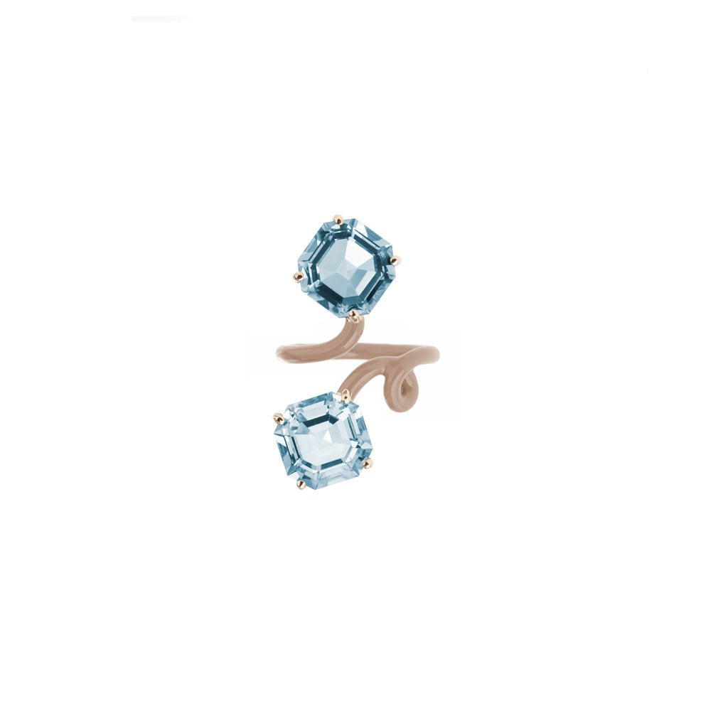 Double Octagon Topaz Tendril Ring