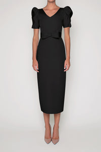 Eleanor Silk Faille Midi Dress with Bow Belt