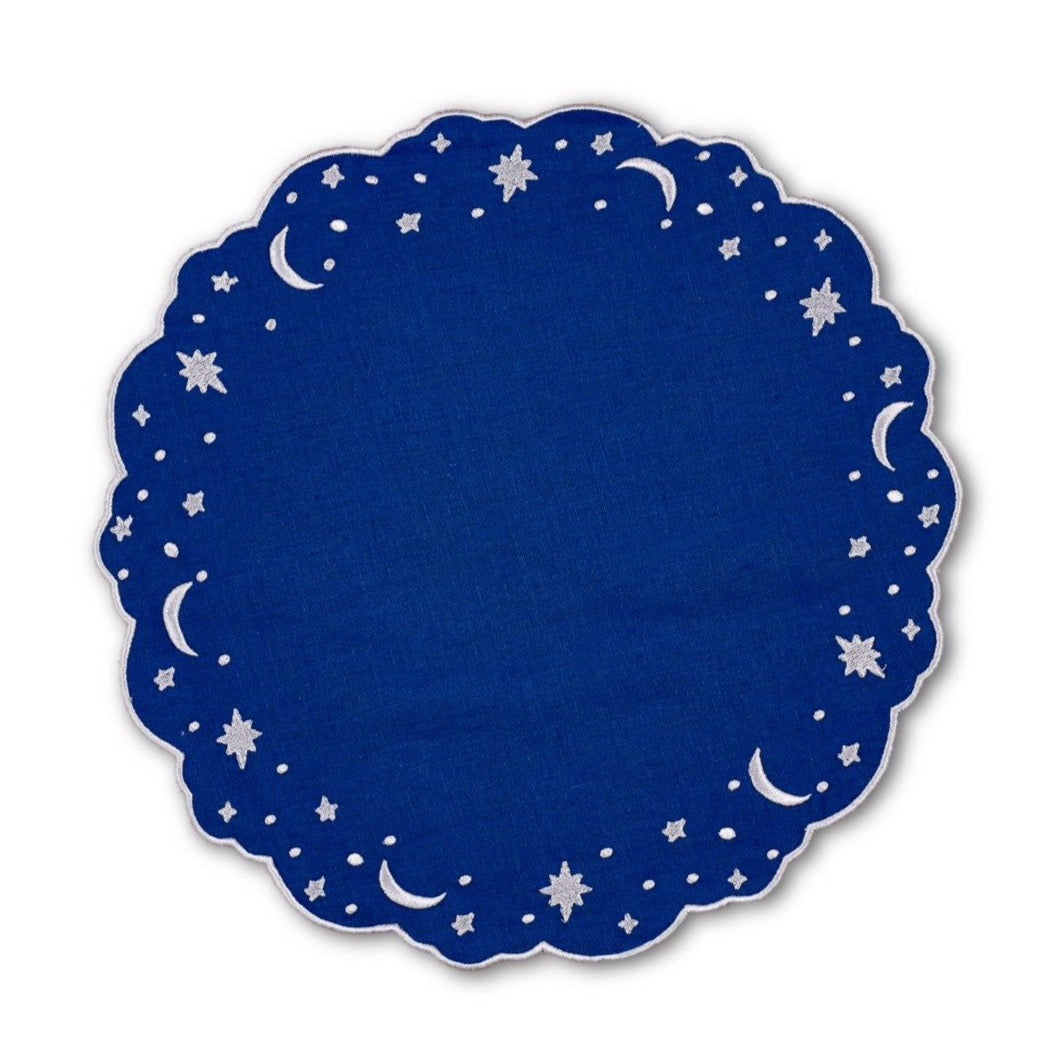 OTM Exclusive: Astral Linen Placemat in Midnight Blue and Silver Embroidery