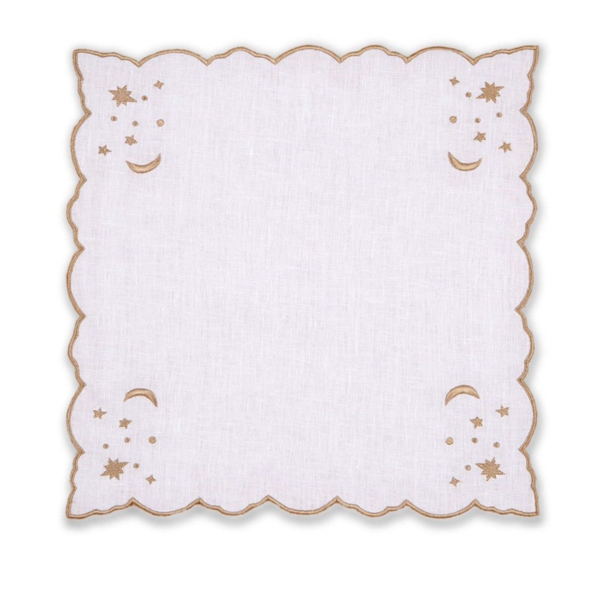 The Astral Linen Napkin in White Linen and Gold Embroidery