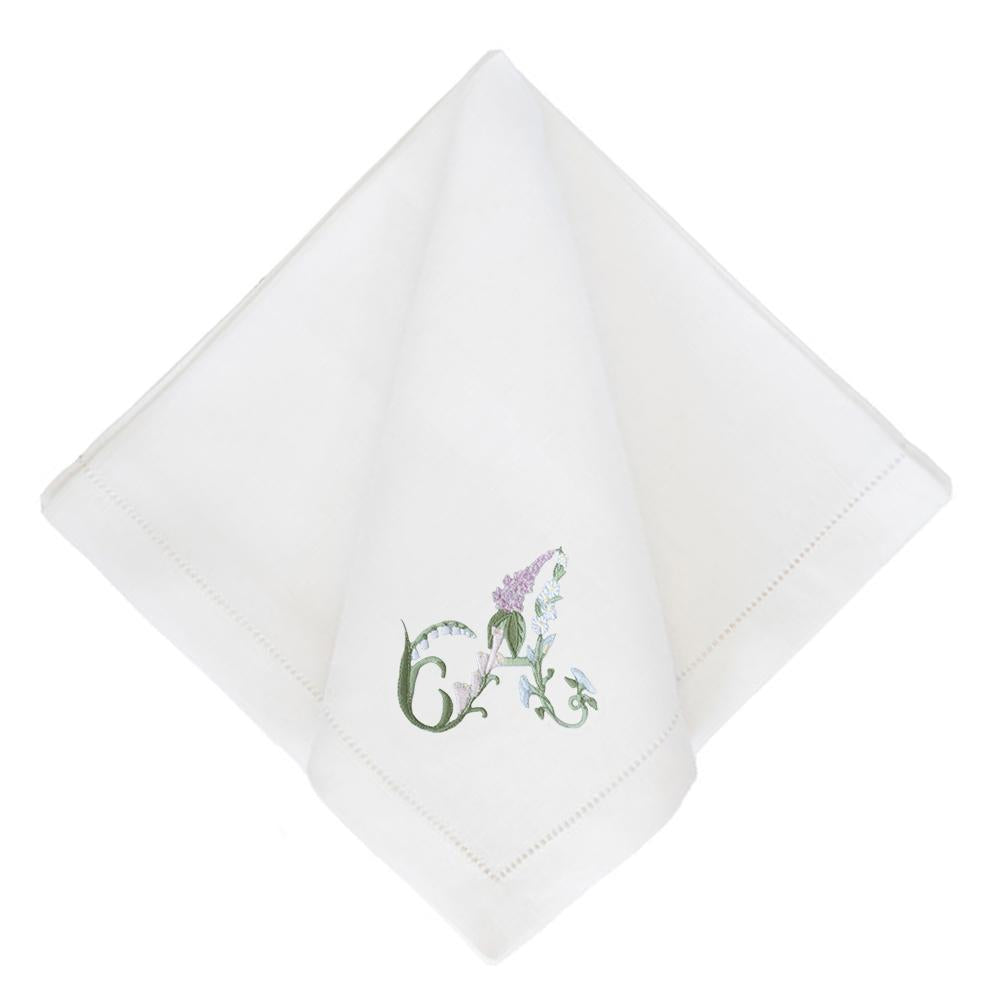 Riley Sheehey x Courtland & Co. Floral Alphabet Dinner Napkin, Set of 4