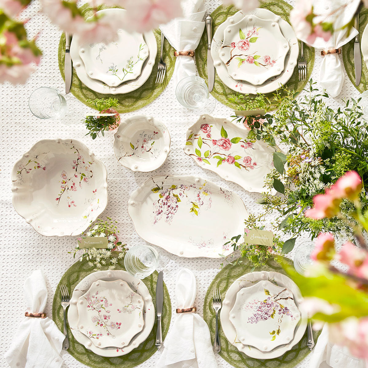 Berry & Thread Floral Sketch Salad/Dessert Plates, Assorted Set of 4