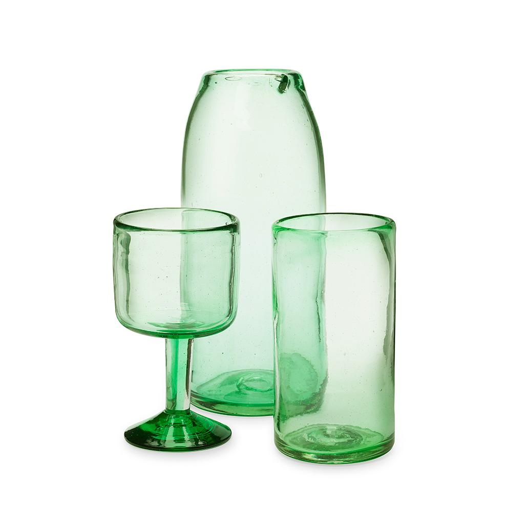 Green Drinking Glass, Set of 6