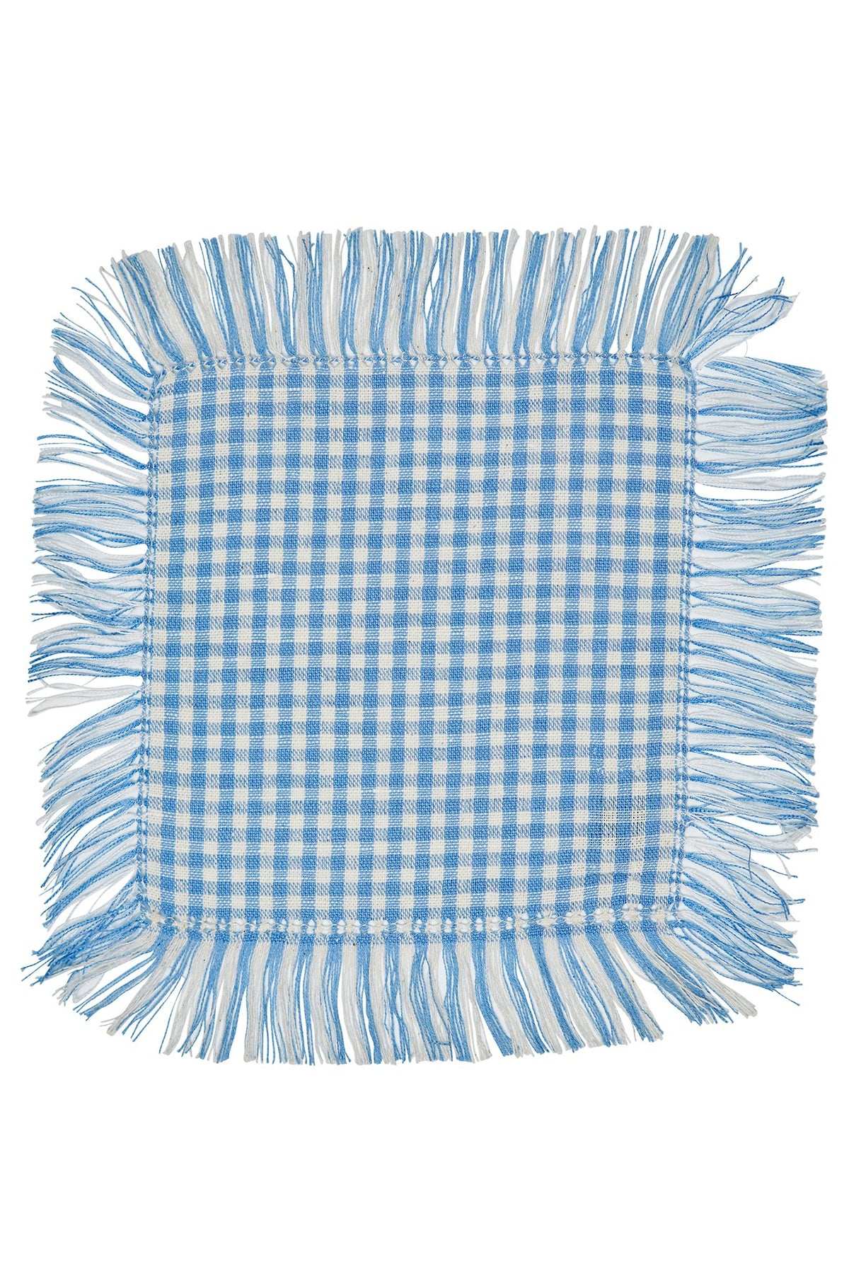 Picnic Blue Gingham Fringe Cocktail Napkin