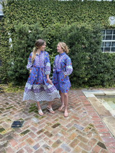 The Paloma Flounce Dress in Periwinkle Violet and Floral Multi