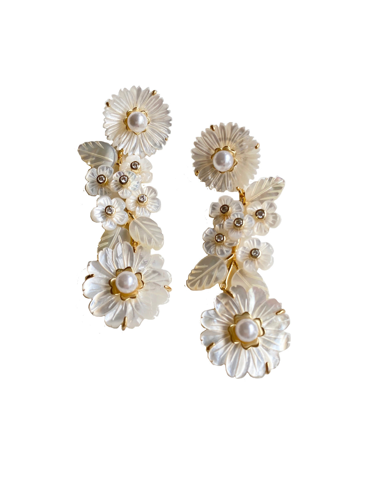 Mother of Pearl and Flowers and Pearl Earrings