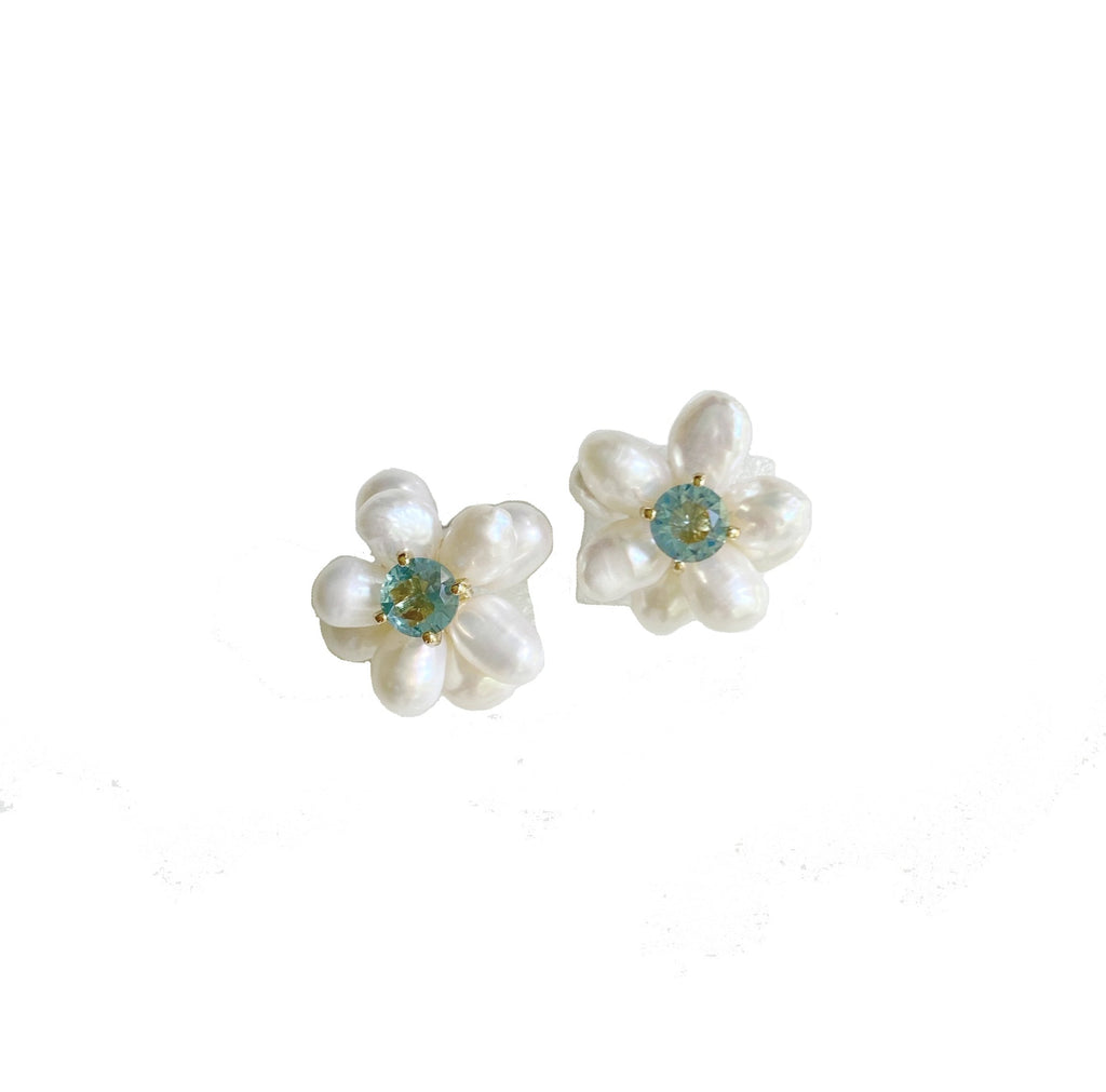 Freshwater Pearls and Light Blue Quartz Hydrangea Studs