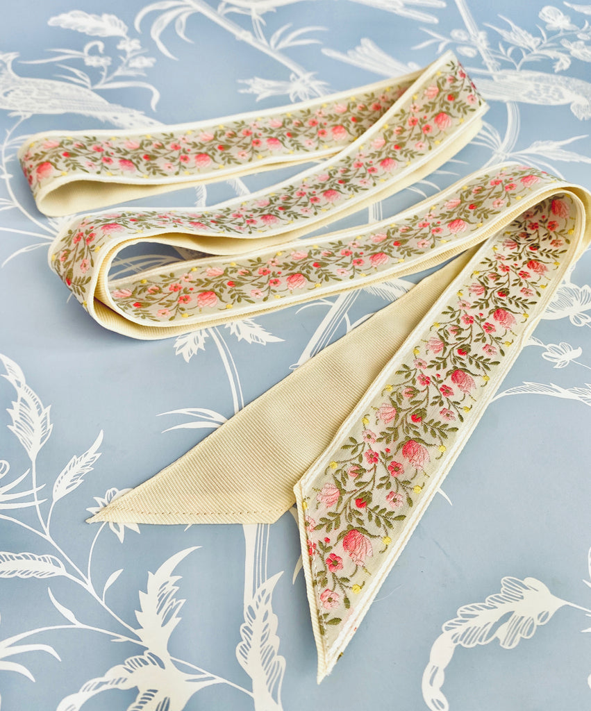 Exclusive: Over The Moon x Sarah Bray Bermuda Antique Ivory Floral Bridal Ribbon
