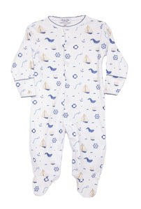 Children's Nautical Print Footie