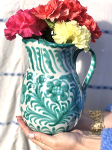 Casa Verde Medium Pitcher with Hand-painted Designs
