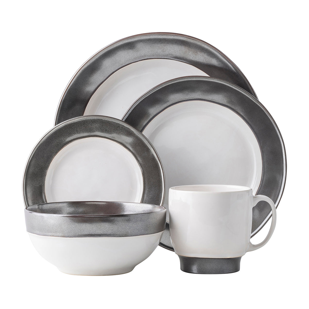 Emerson White/Pewter Place Setting, Set of 5