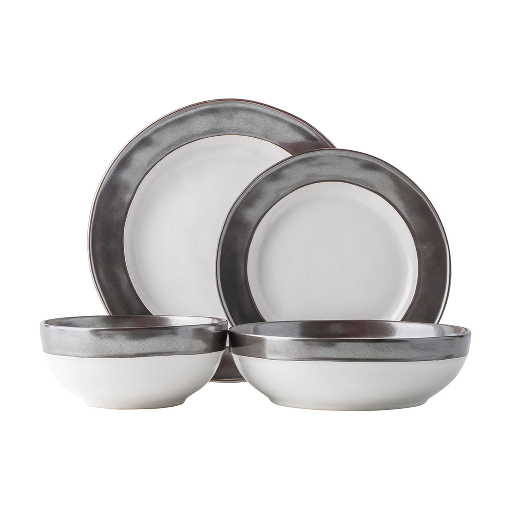 Emerson White/Pewter Place Setting, Set of 4