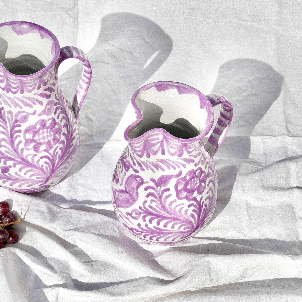 Casa Lila Small Pitcher with Hand-painted Designs