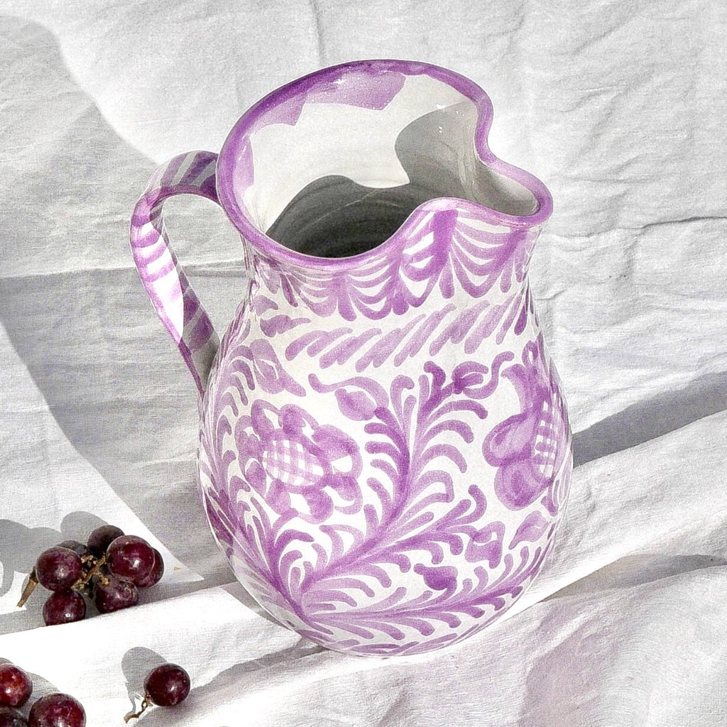 Casa Lila Large Pitcher with Hand-painted Designs
