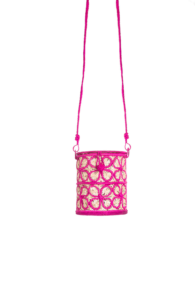 Floral Inlay Natural And Fuchsia Cilynder Bag