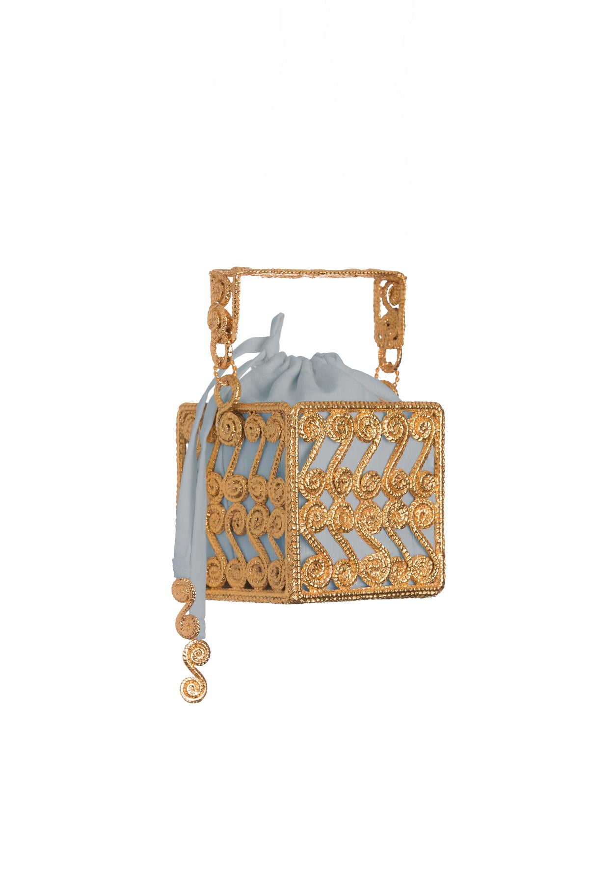Spiral Scroll Square Bag with Natural and Light Blue Insert