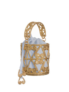 Leaves Scroll Cylinder Bag with Light Blue and Natural Insert