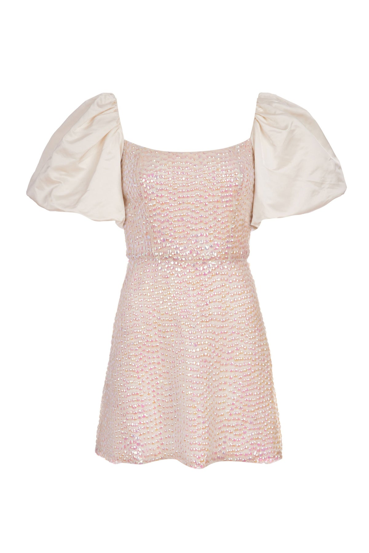 Cupid Opal Sequin-Embellished Duchess Satin Puff Sleeve Mini Dress