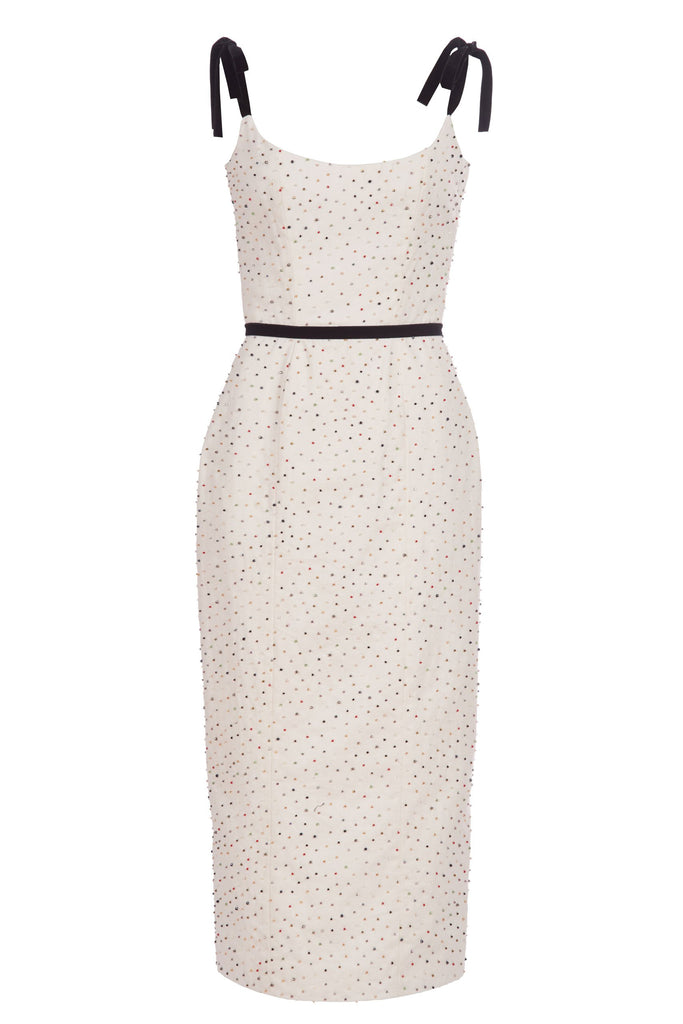 White Beaded Corset Dress with Tie Straps