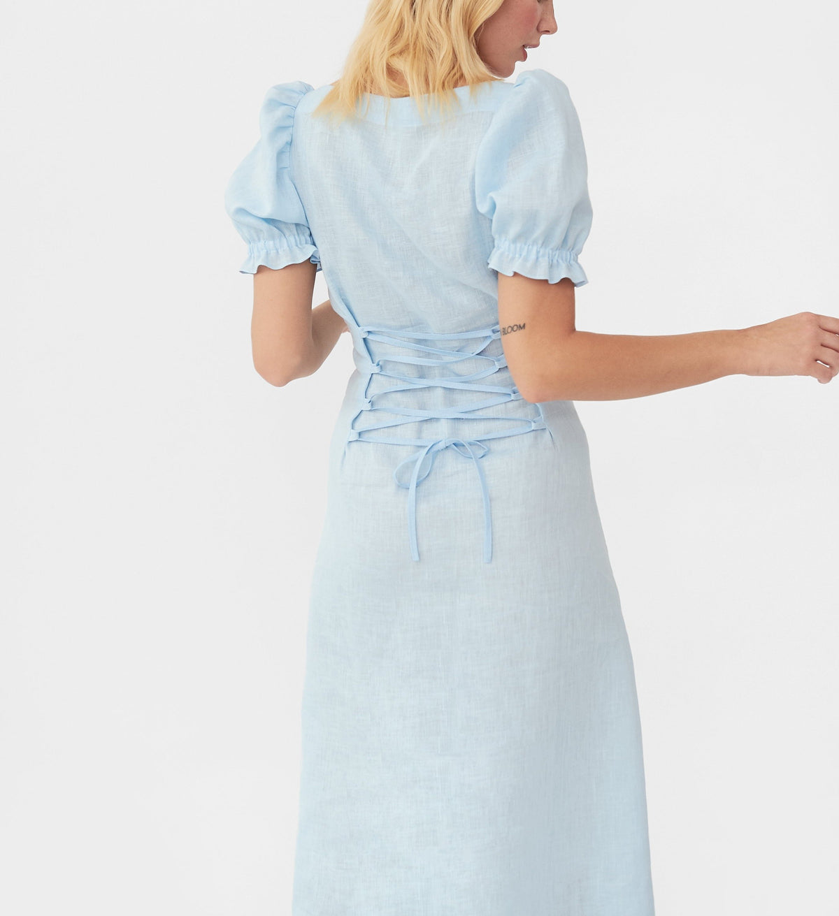 Marquise Linen Dress in Azure Blue