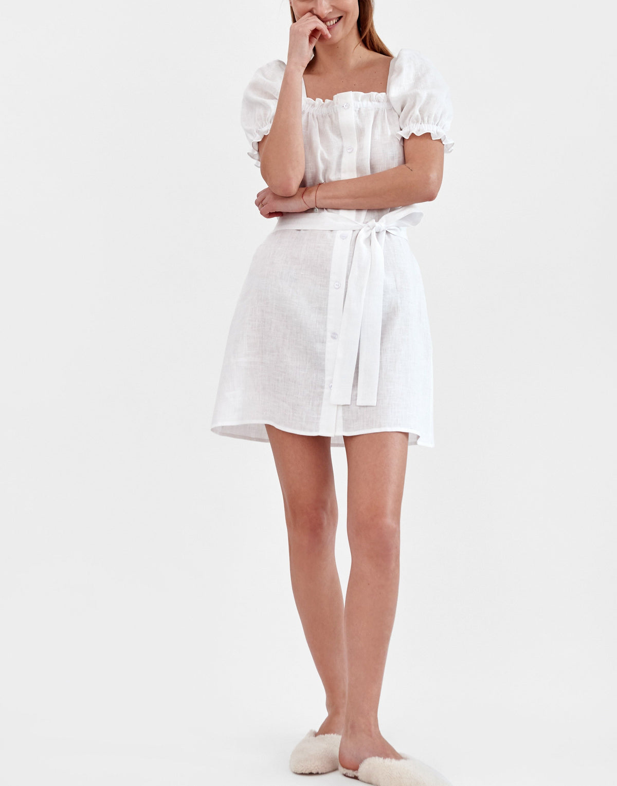 Brigitte Mini Dress in White
