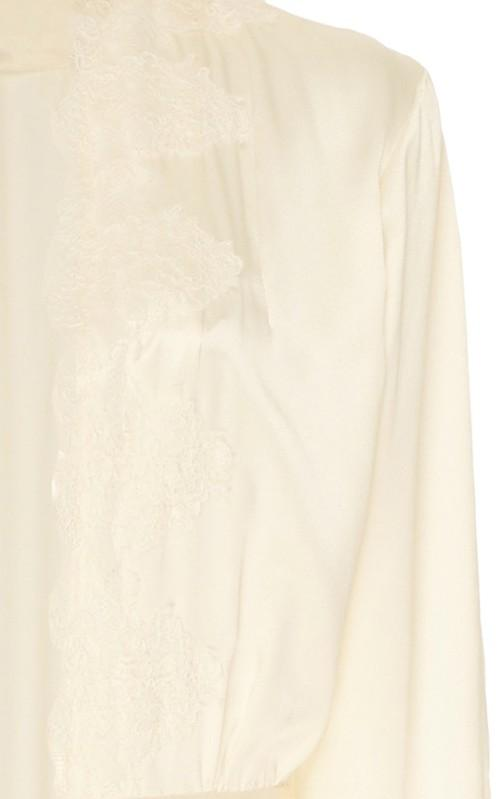 Montague Ivory Lace-Trimmed Silk-Satin Jacket