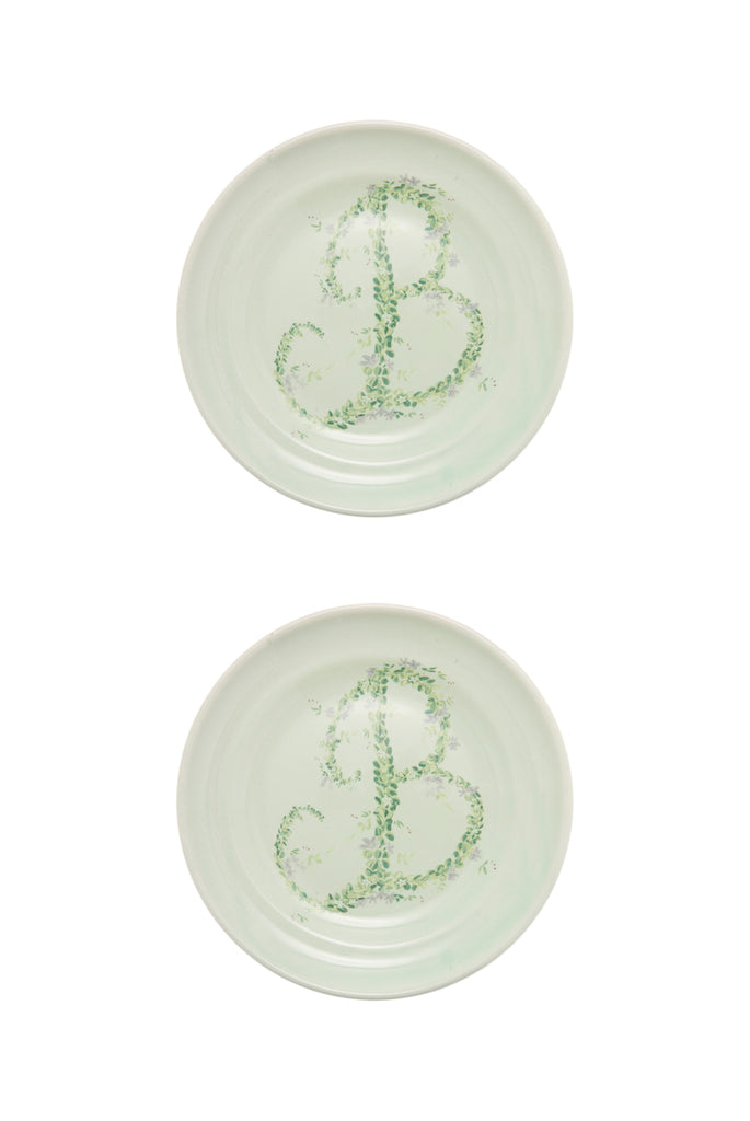 Monogram Flowers Porcelain Fruit Plate, Set of 2