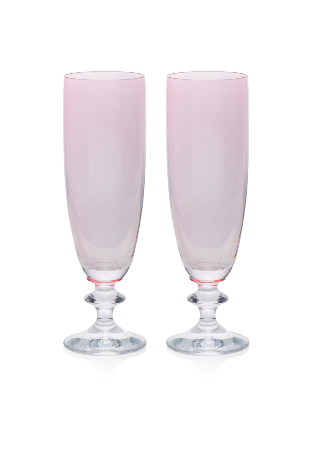 Rosy Flute Glass, Set of 2