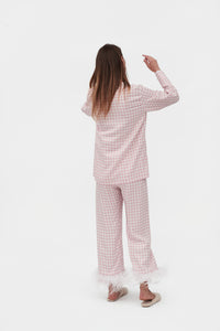 Party Pajama Set with Feathers in Pink Vichy
