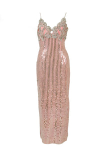 Pink Sequin Party Dress with Rhinestone Straps