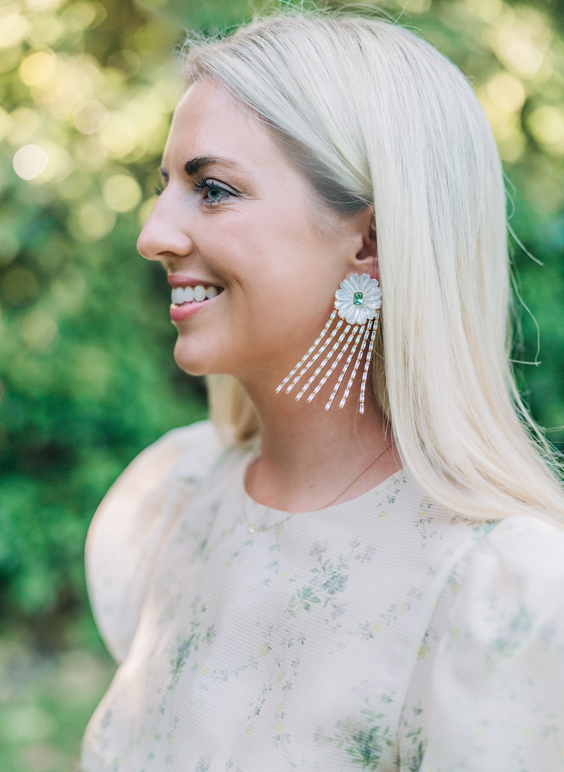 Mother of Pearl and Quartz and Embellished Tassel Earrings