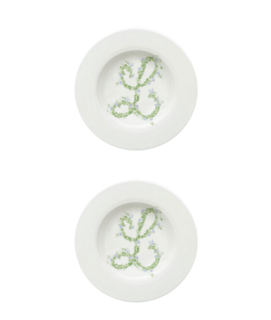 Monogram Flowers Soup Plate, Set of 2