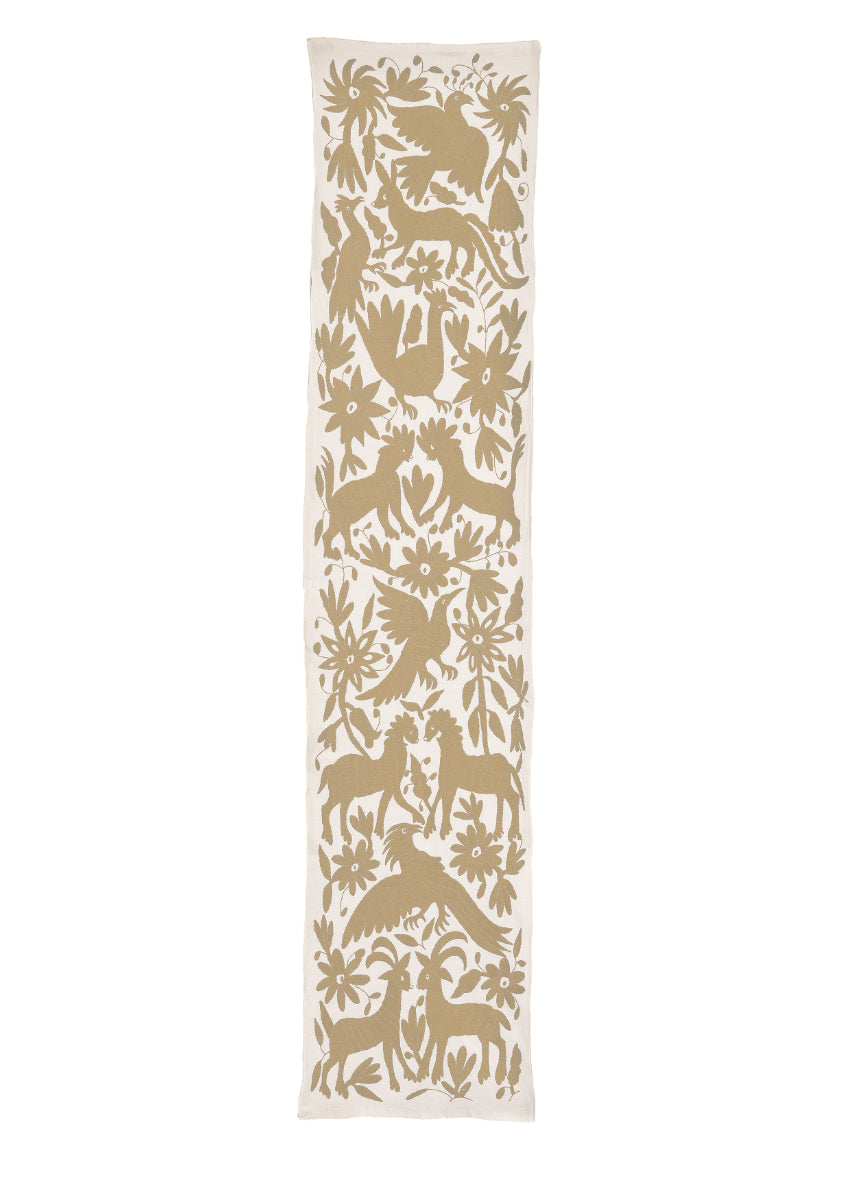 Otomi Mexican Hand Embroidery Table Runner in Sand