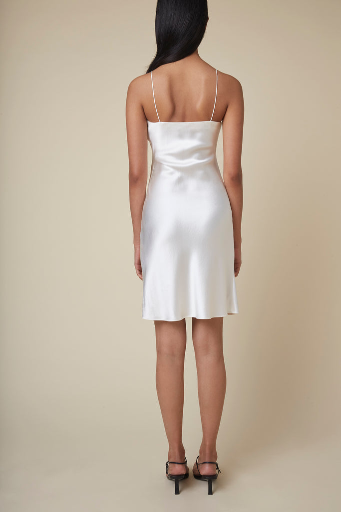 The Rachel Mini Slip Dress in Ivory