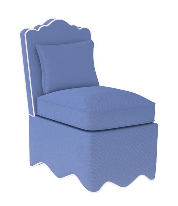 Upholstered Scalloped Slipper Chair