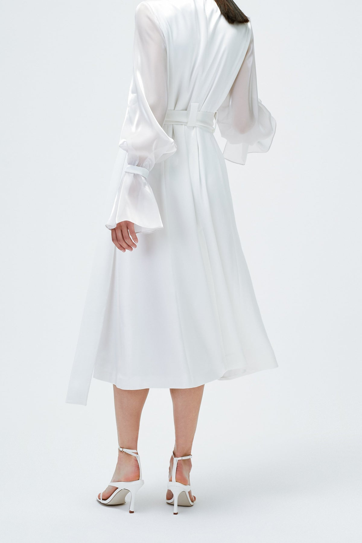 Organza Trench Dress in White