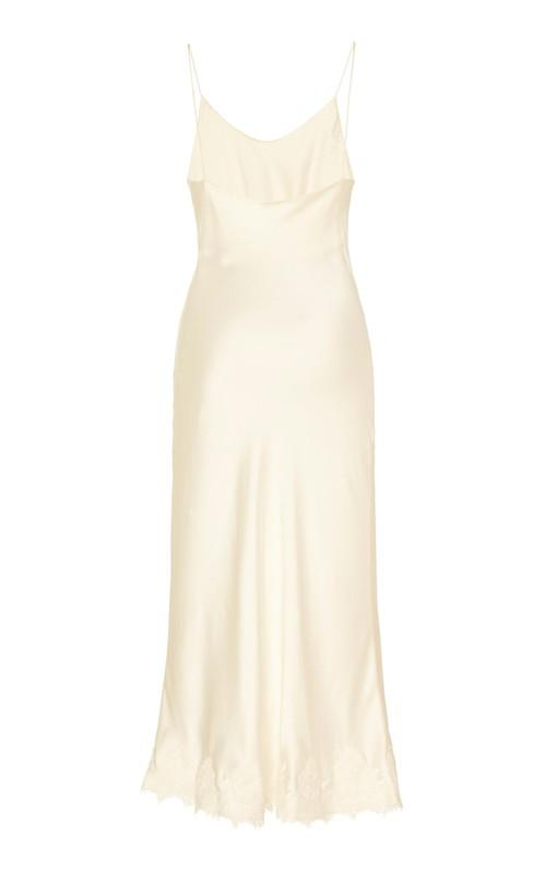 Verona Ivory Satin-Silk Slip Dress with Lace Trim