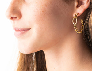 Gold Monique Chain Hoop Earrings