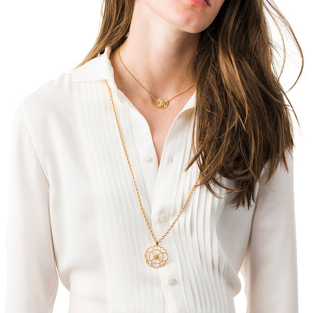Gold Capucine Grande Open Pendant Necklace