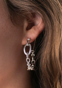 Silver Monique Chain Hoop Earrings
