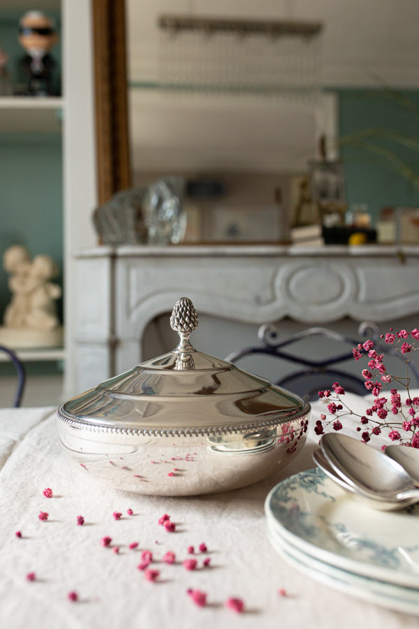 Silver Plated Dish with Acorn Top