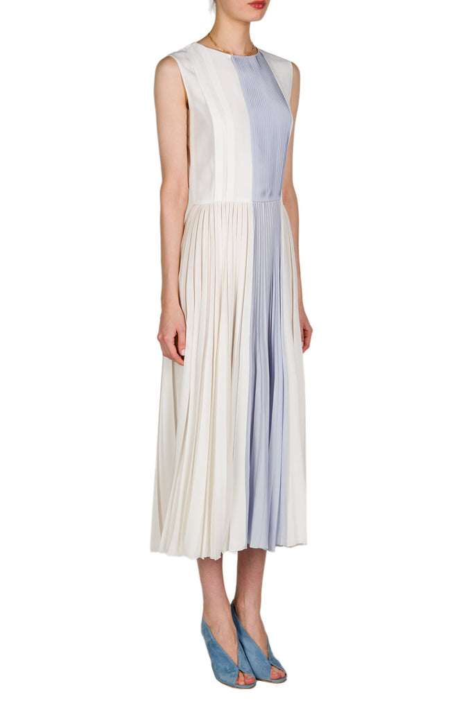Pleated Two-Tone Midi Dress