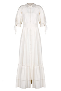 Tie Sleeved Linen Blend Maxi Dress
