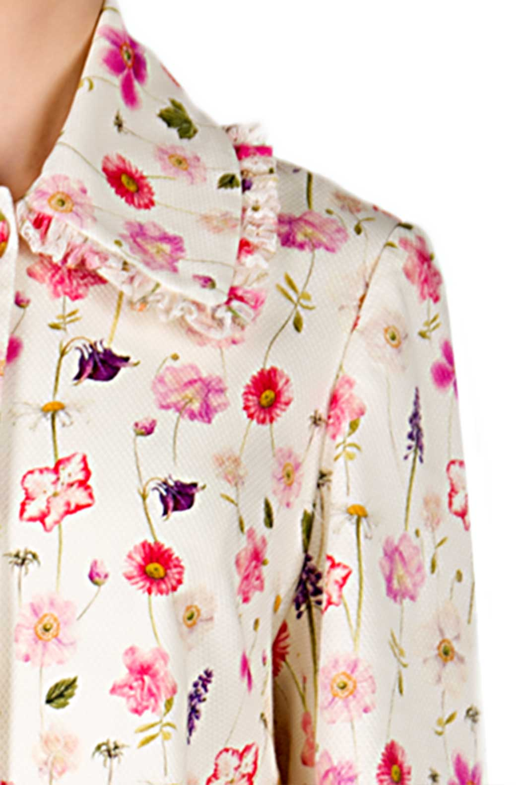Floral Printed Cotton-Piquet Coat