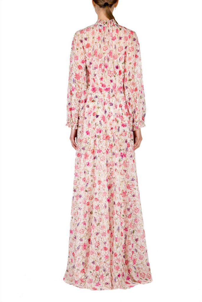 Floral Printed Mock Neck Lace Maxi Dress