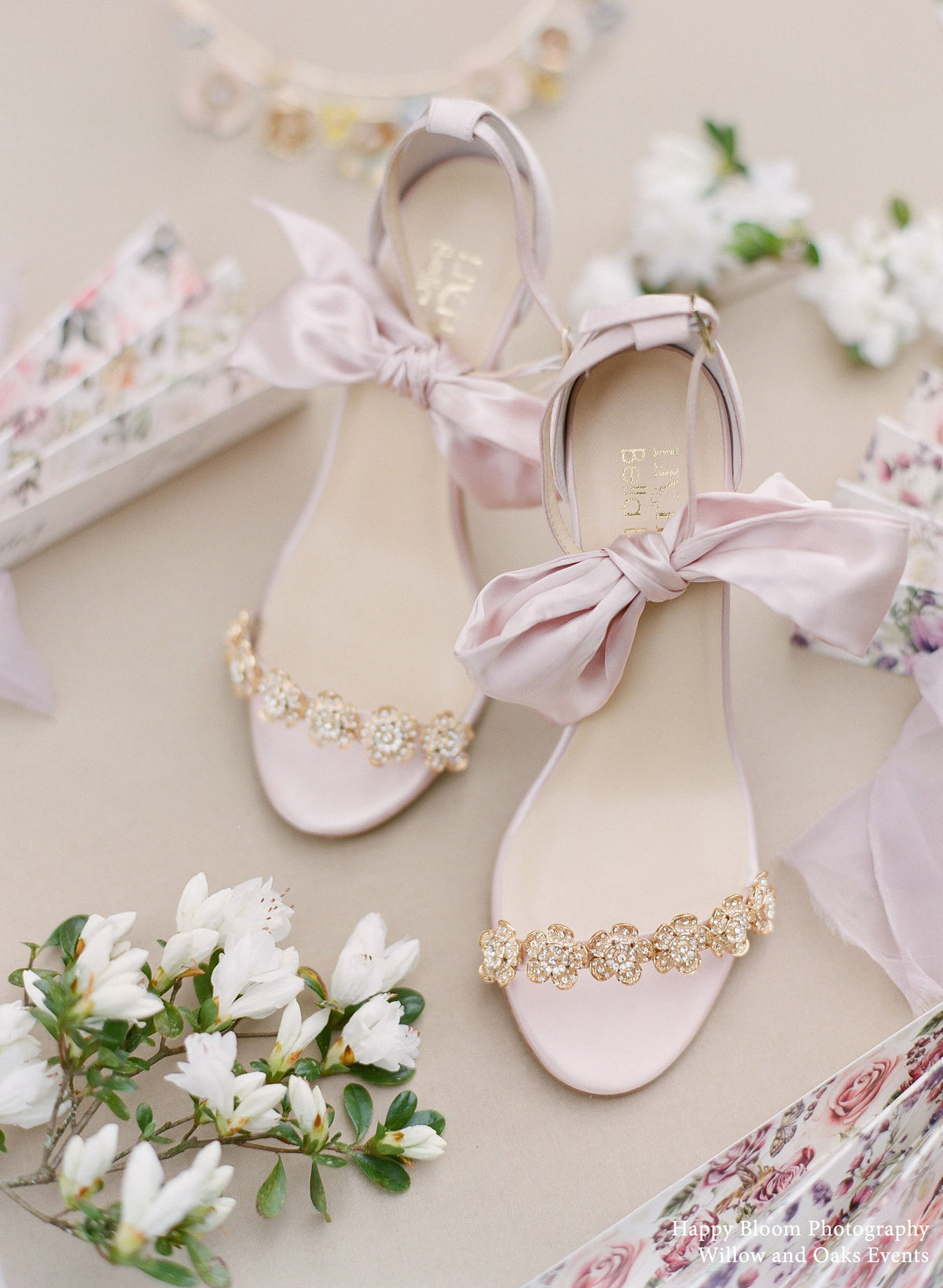 Bella Belle Blush Ankle Strap With Bow and Jewels Occasion Heel - Mariee by Liv Hart Collection