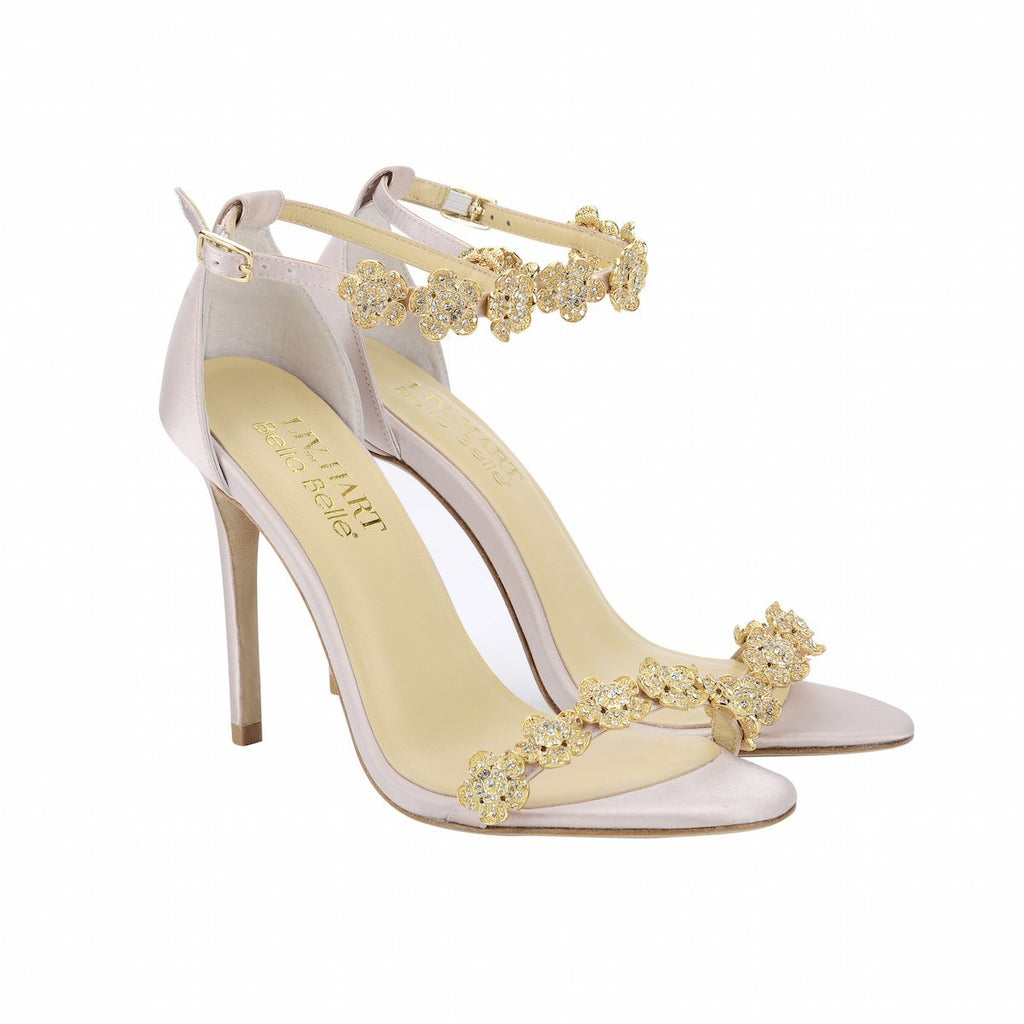 Bella Belle Blush Ankle Strap With Bow and Jewels Occasion Heel - Mariee by Liv Hart ( Side View )