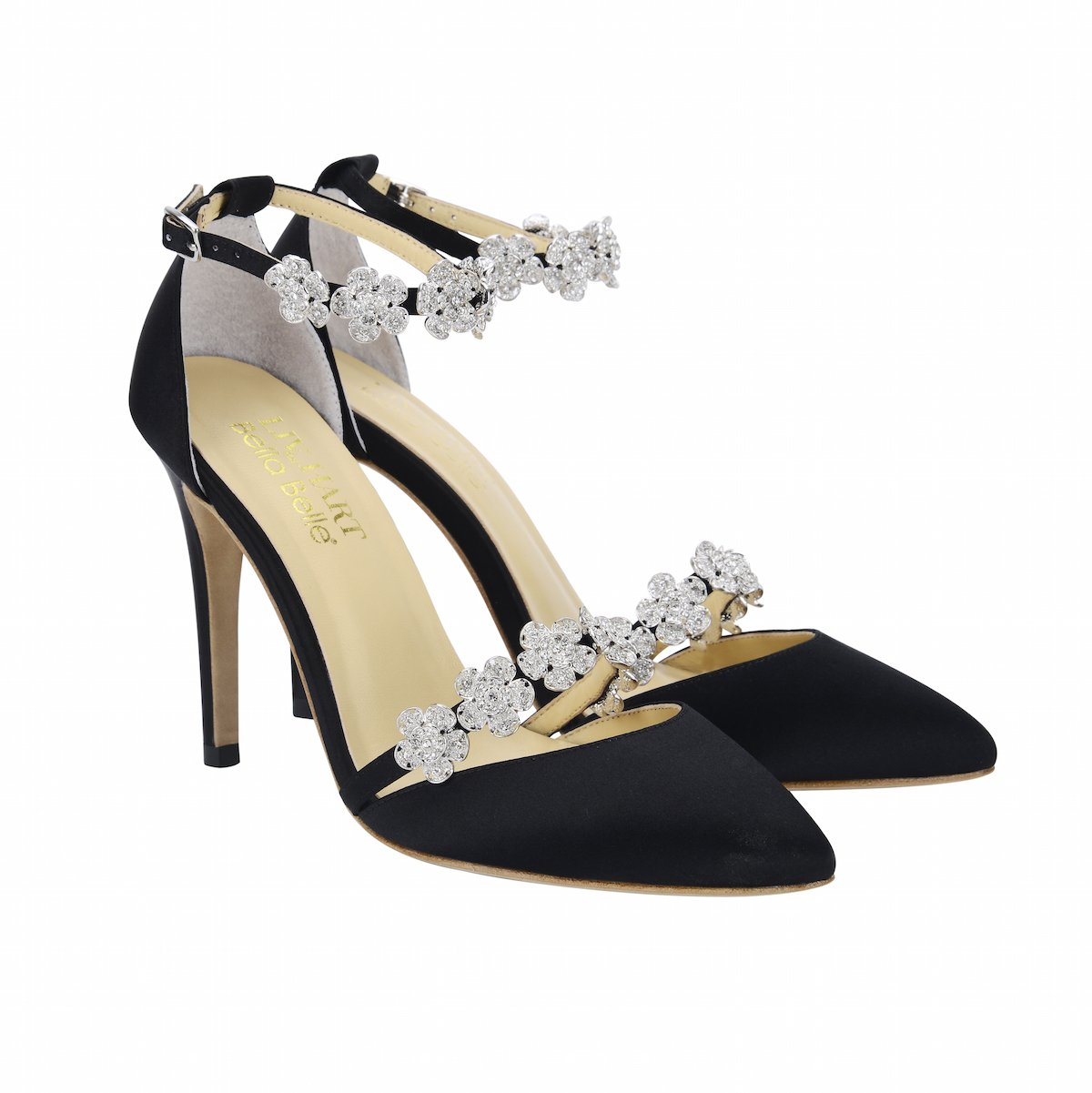 Bella Belle Silk Bow with Floral Crystal Black Evening Heel - Olivia Black by Liv Hart